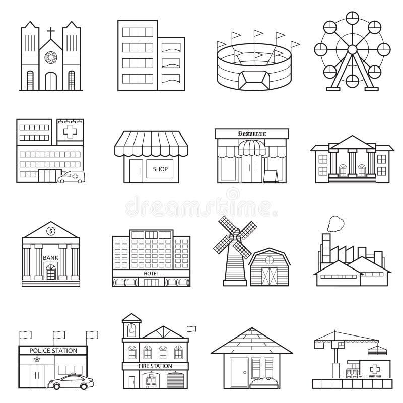 Byggnadsstadslinje symbolsuppsättning royaltyfri illustrationer