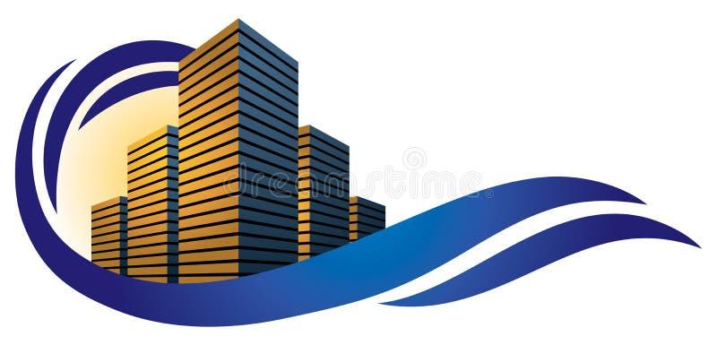 Byggnadsstadslogo stock illustrationer