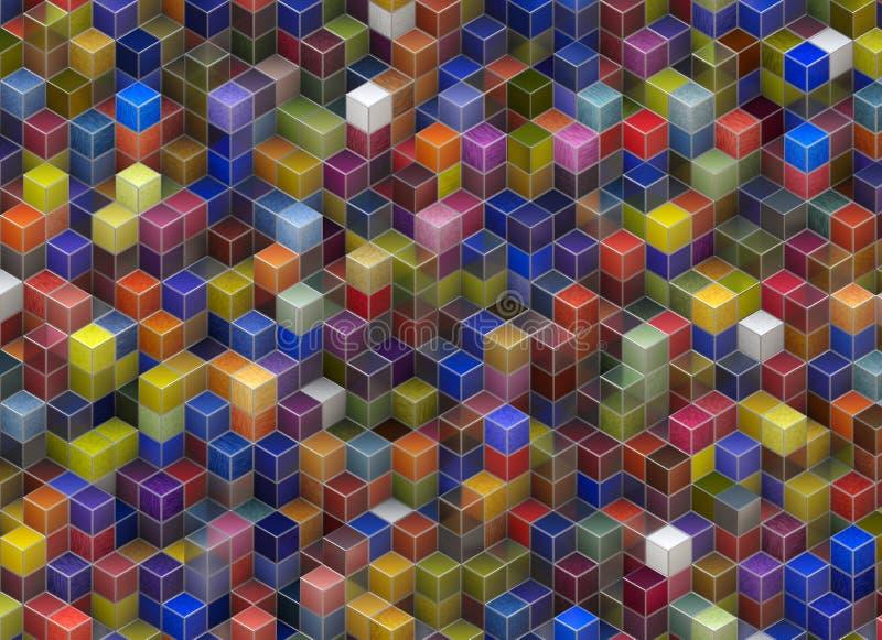 Byggnadsstruktur från kuber Abstrakta arkitekturbakgrunder royaltyfri illustrationer