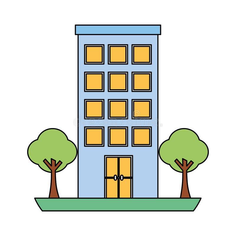 Byggnadsstruktur med isolerade symbolen f?r tr?d den v?xter royaltyfri illustrationer
