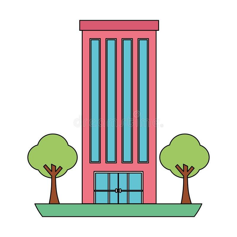 Byggnadsstruktur med isolerade symbolen f?r tr?d den v?xter vektor illustrationer