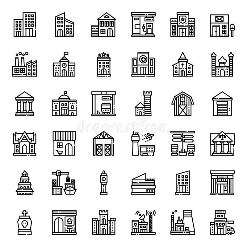 byggnadssymbol royaltyfri illustrationer