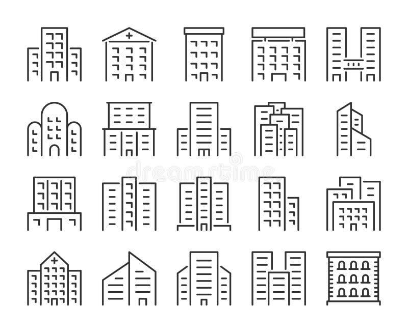 byggnadssymbol Kontor skola, sjukhuset, stadskonstruktioner fodrar symbolsuppsättningen Redigerbar slagl?ngd, perfekt PIXEL 64x64 royaltyfri illustrationer