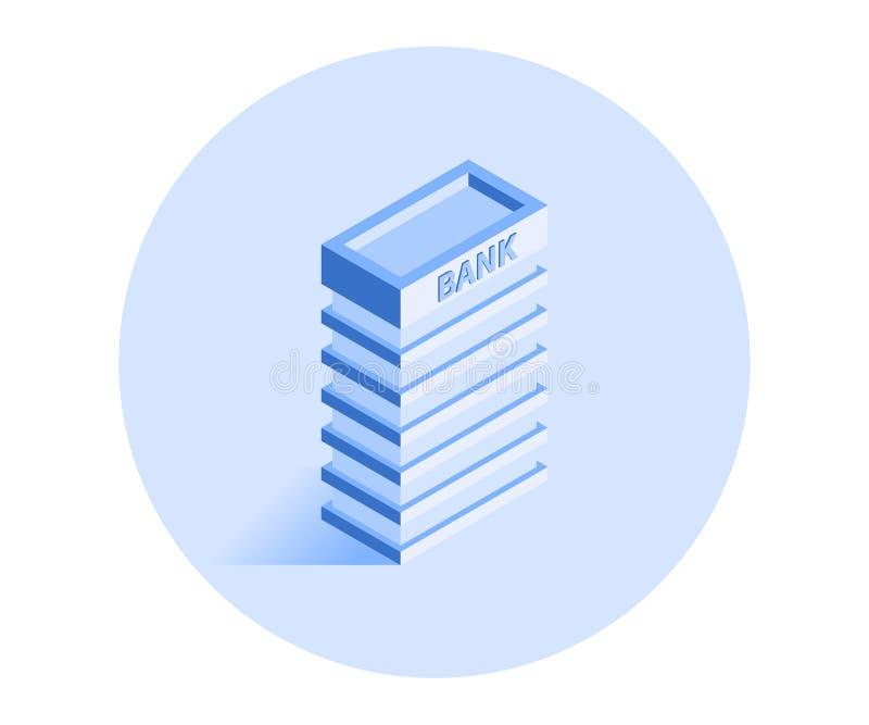 byggnadssymbol Vektorillustration i plan isometrisk stil 3D stock illustrationer