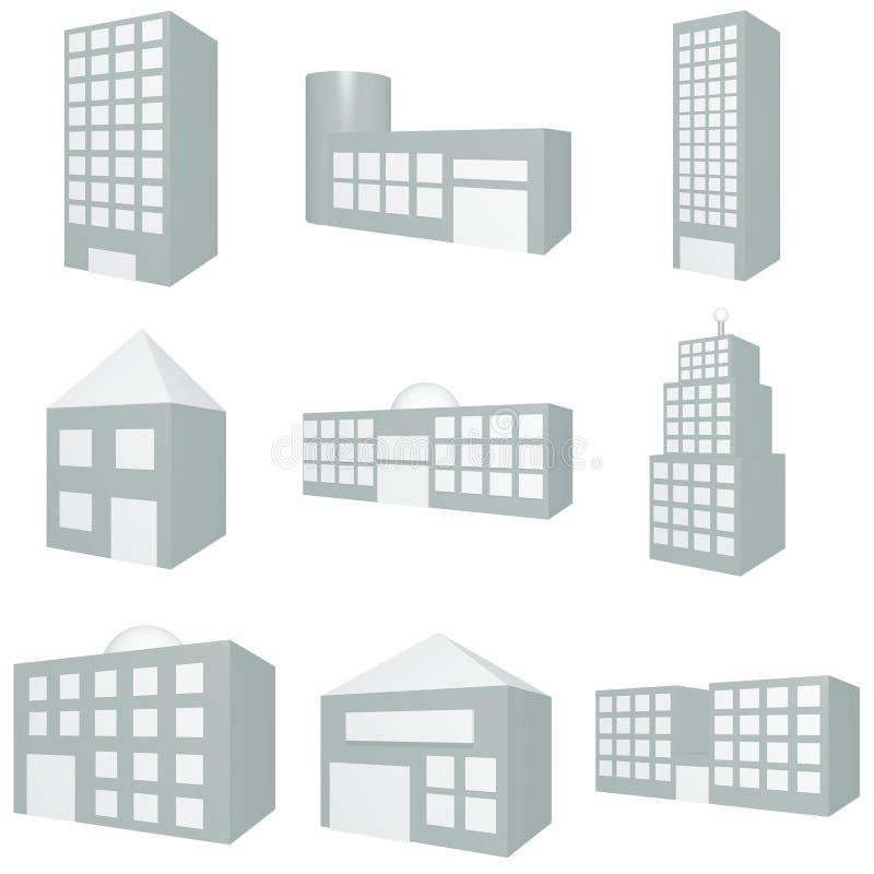 byggnadssymbolsset royaltyfri illustrationer
