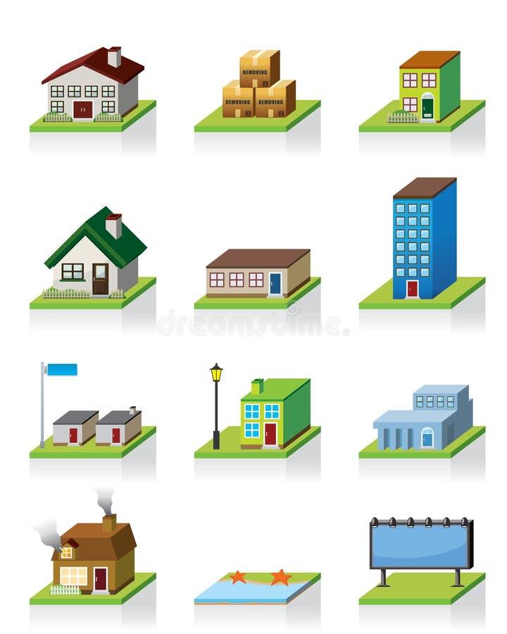 byggnadssymbolsvektor royaltyfri illustrationer