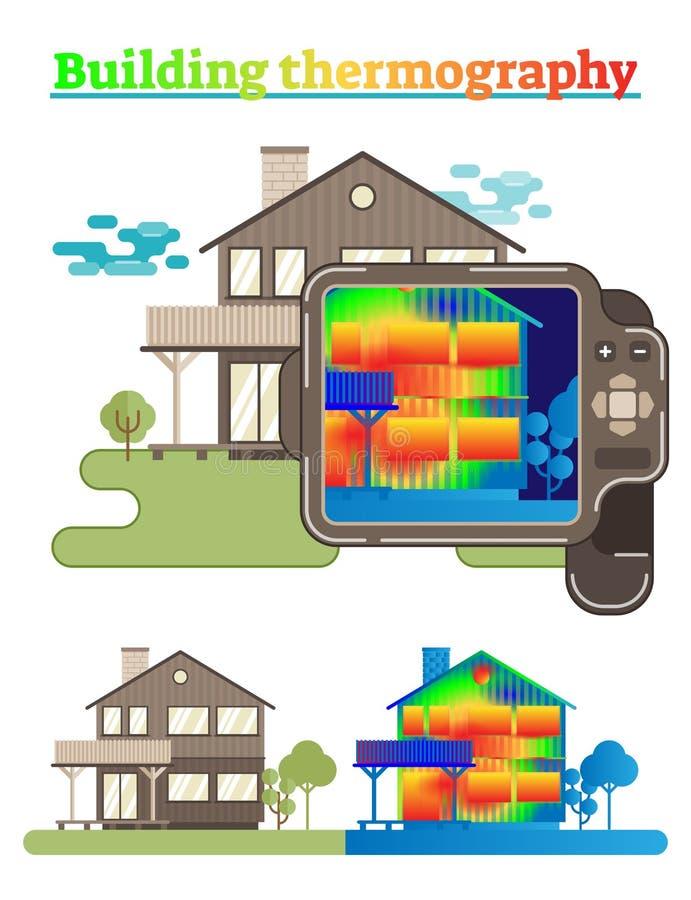 Byggnadsthermographyillustration vektor illustrationer