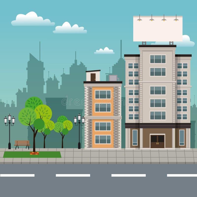 Byggnadsträdbrench parkerar den stads- streetscapen royaltyfri illustrationer