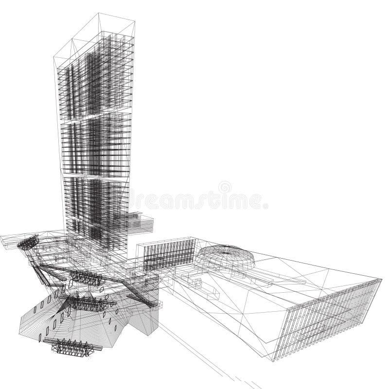 byggnadsun-wireframe stock illustrationer