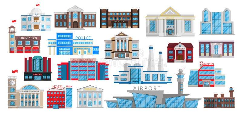 Byggnadsuppsättning som isoleras i plan stilvektor royaltyfri illustrationer