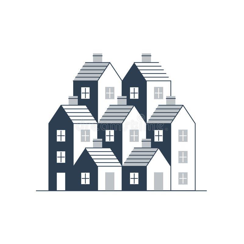 Byggnadsutveckling, intecknar och fast egendombegreppet royaltyfri illustrationer