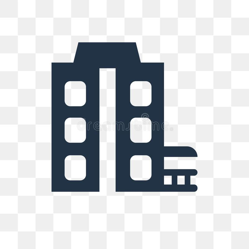Byggnadsvektorsymbol som isoleras på genomskinlig bakgrund, Buildin stock illustrationer