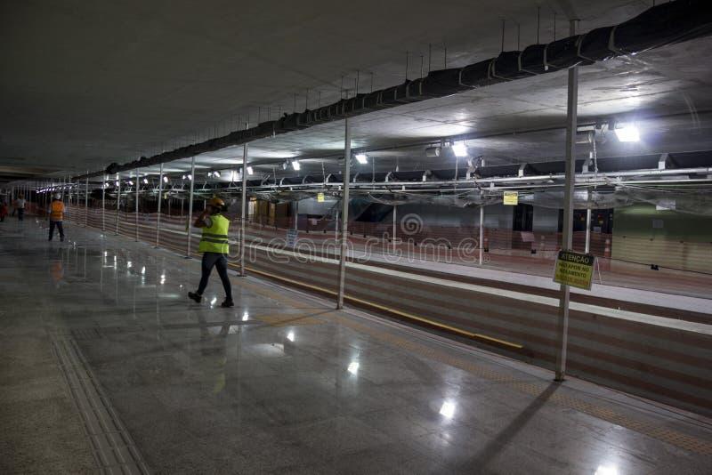 Byggnationer av Rio Metro till OS:erna 2016 fotografering för bildbyråer
