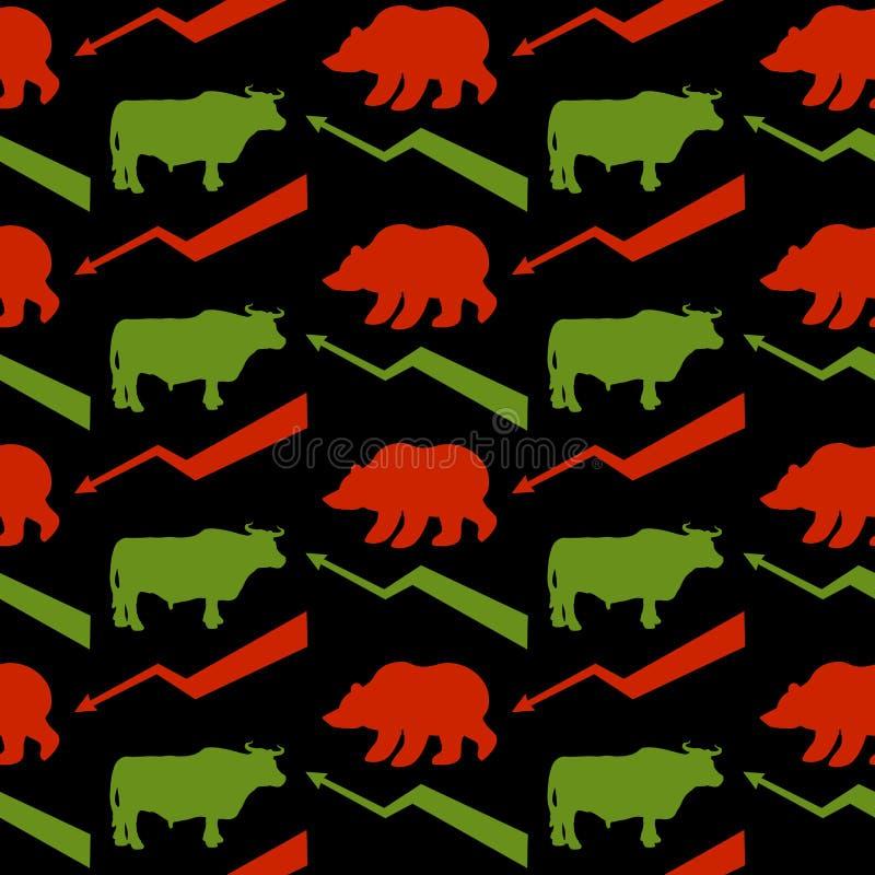 Byków i niedźwiedzi handlowów bezszwowy wzór Zielony Red Bull i bea royalty ilustracja