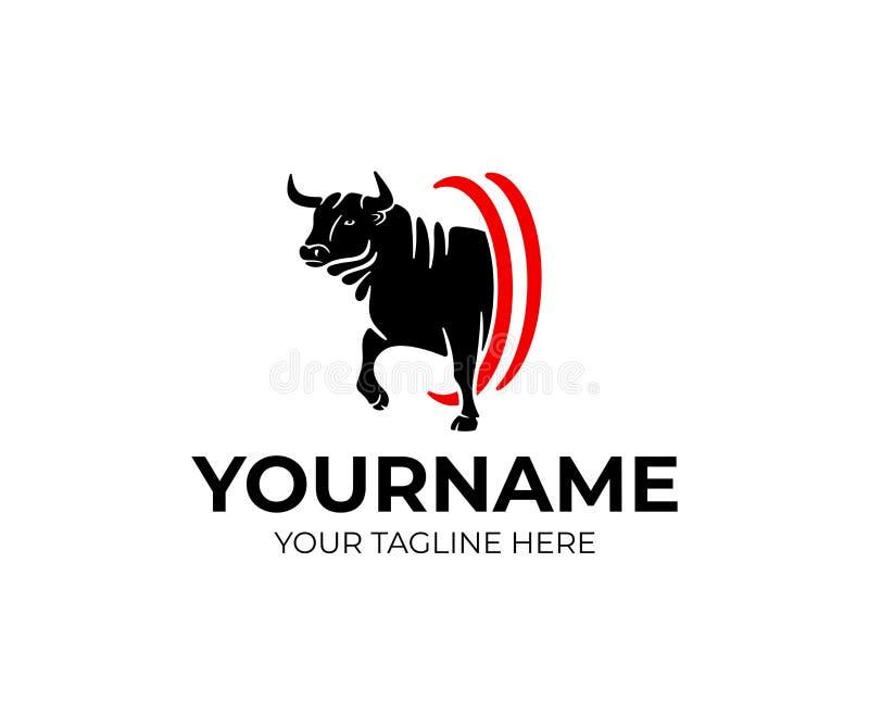 Byk agresywny iść, zwierzę domowe i zwierzę, logo projekt Gospodarstwo rolne, uprawiać ziemię, rancho i bydło, wektorowy projekt ilustracja wektor
