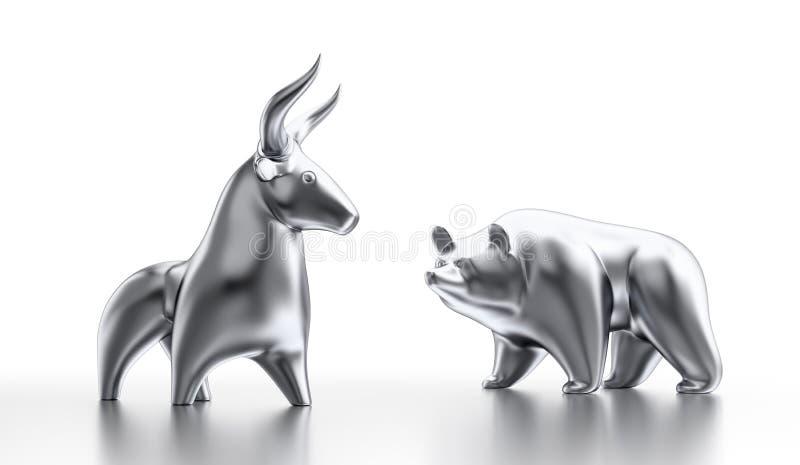 Byk i niedźwiadkowy rynek royalty ilustracja