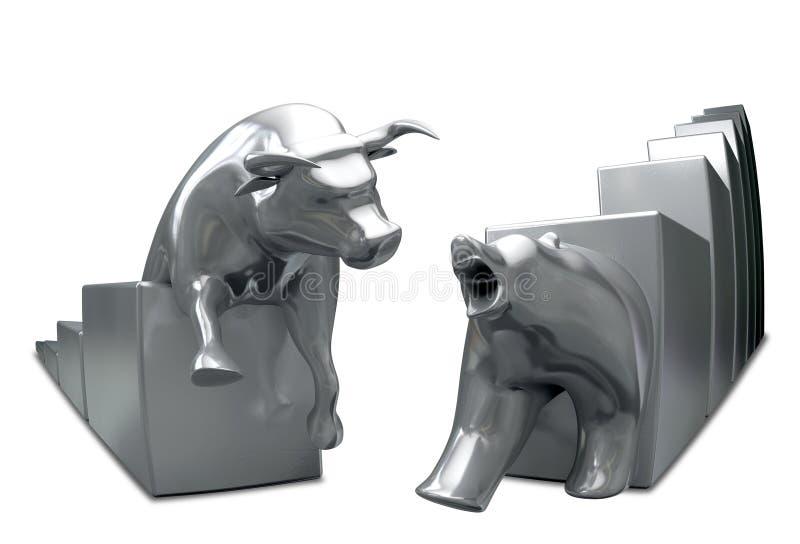 Byk I niedźwiedź Zbiegamy się metalu oko royalty ilustracja
