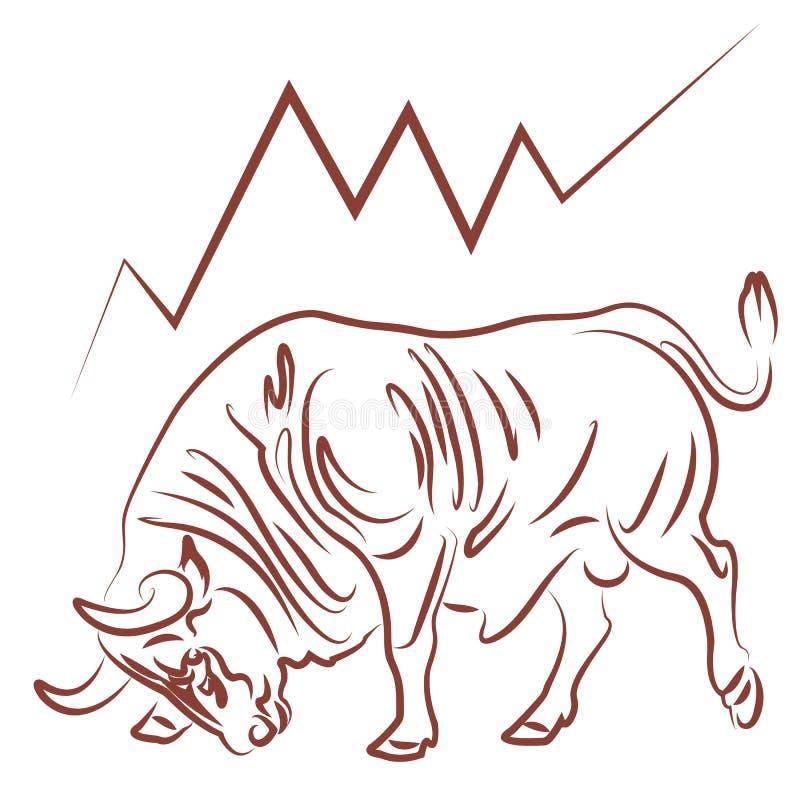 Byk i zwyżkowy rynku papierów wartościowych trend ilustracji