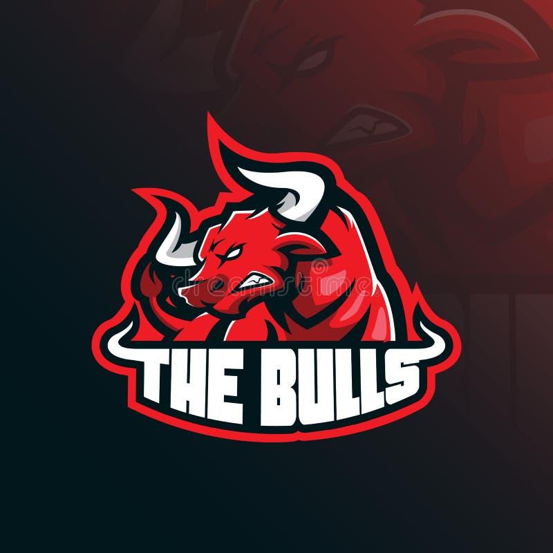 Byk maskotki logo projekta wektor z nowożytnym ilustracyjnym pojęcie stylem dla odznaki, emblemata i tshirt druku, wściekły byk ilustracja wektor
