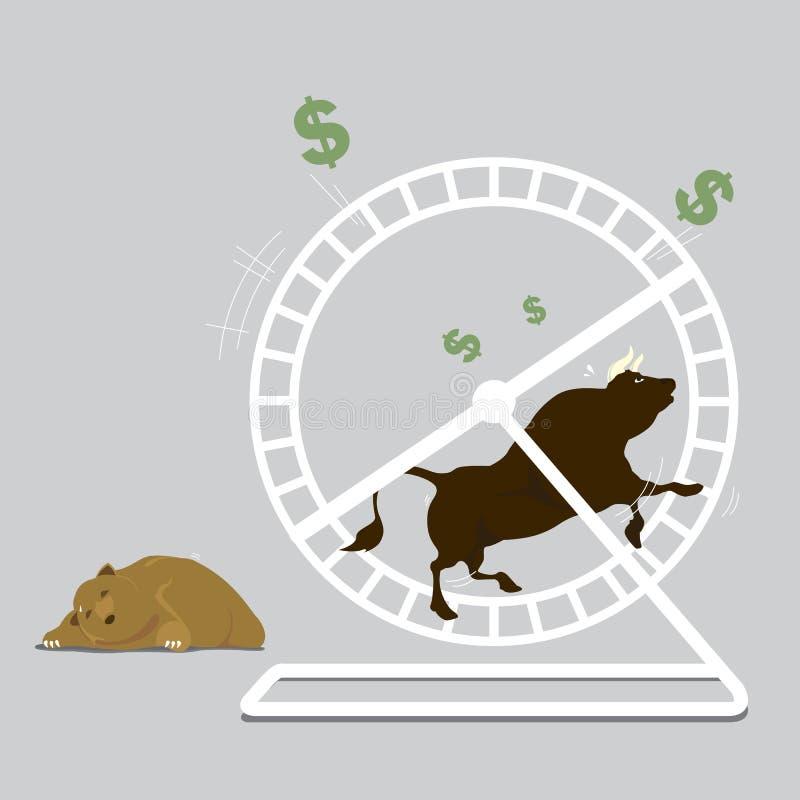 Byk & niedźwiedź Męczący biegać w chomikowym kole zdjęcie stock