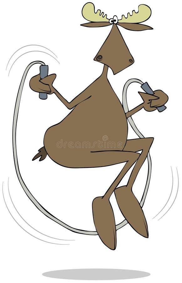 Byka łoś amerykański z jumprope ilustracja wektor
