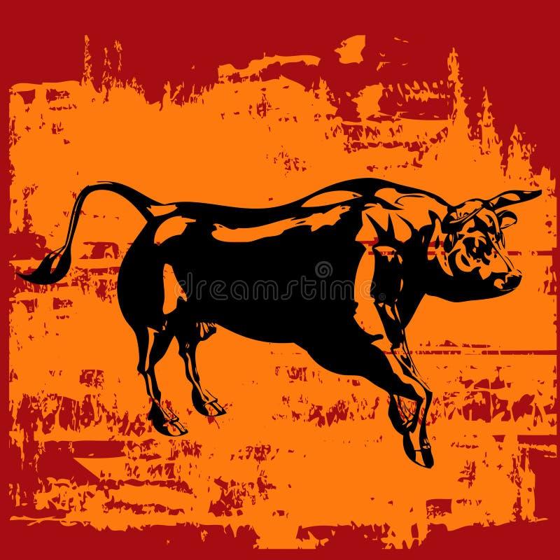 byka czarny grunge ilustracji