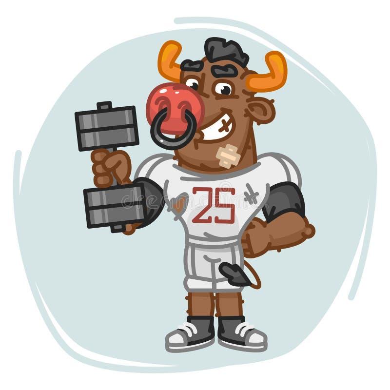 Byka gracz futbolu Trzyma Dumbbell ilustracja wektor