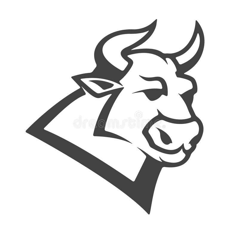 Byka kierowniczy emblemat odizolowywający na białym tle ilustracji