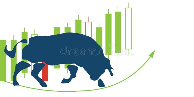 Byka rynku lub wyzdrowienie powstającego rynku ilustracja royalty ilustracja
