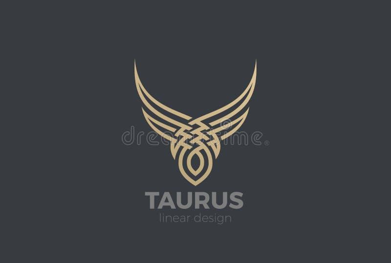 Byka Taurus sylwetki loga wektor Liniowy Stek h royalty ilustracja