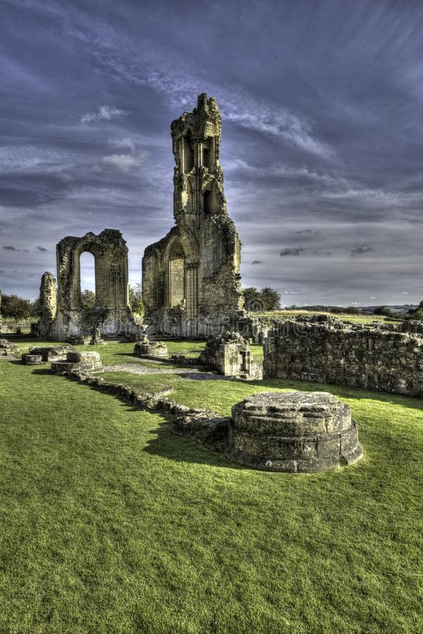 Byland Abbey, North Yorkshire, England. Byland Abbey is an ancient medieval Cistercian monastery now in ruins located in North Yorkshire, England royalty free stock image