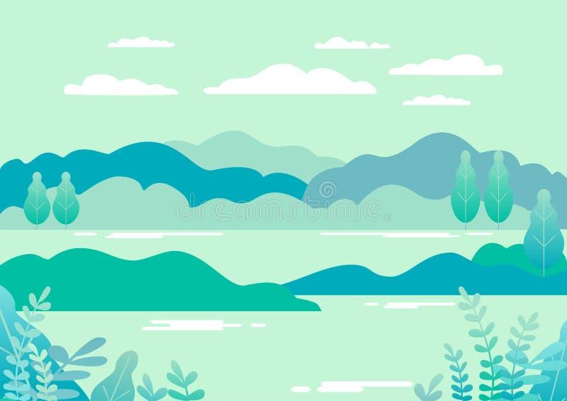 Bylandskap i moderiktig lägenhet och linjär stilvektorillustr vektor illustrationer