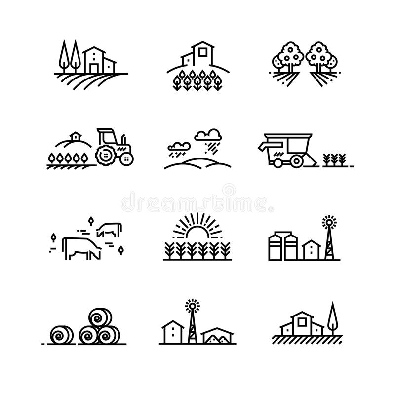 Bylinje landskap med jordbruks- fält- och lantgårdbyggnader Linjära lantbrukvektorbegrepp royaltyfri illustrationer