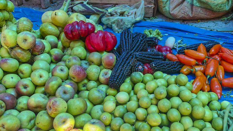Bymarknad i peruanen Anderna royaltyfri foto