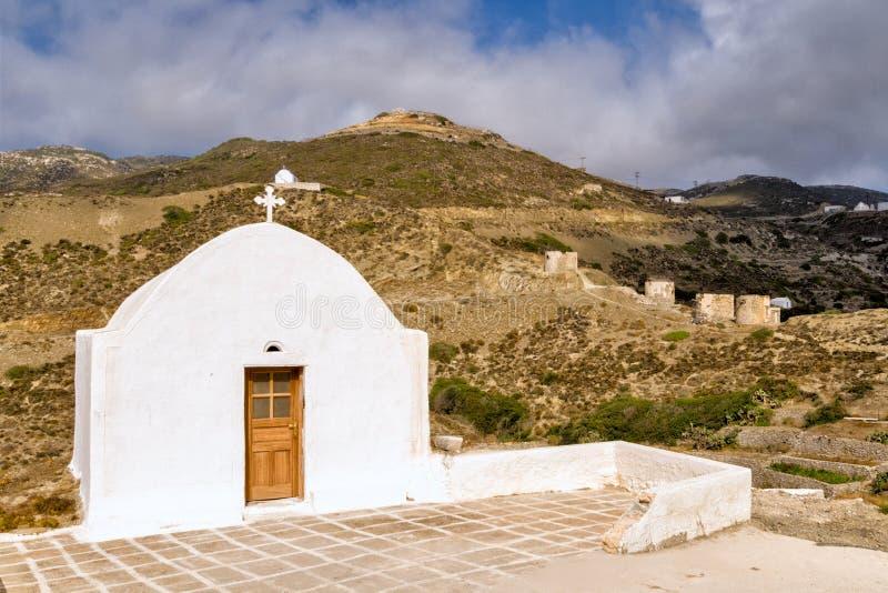 Byn av Olympos verkar tidlös utanför ferierna är familjkapellen stängda royaltyfria bilder