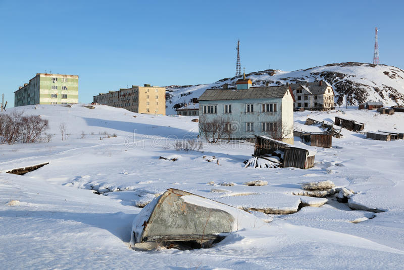 Byn av Teriberka arkivfoton
