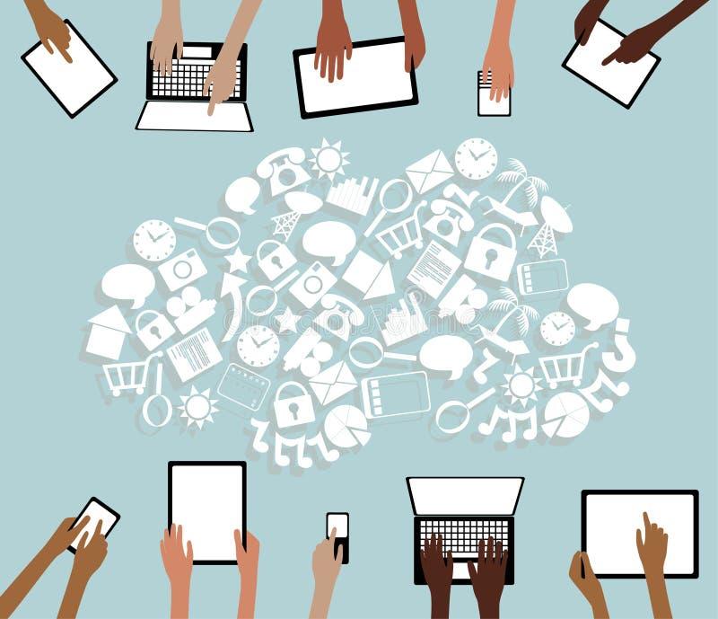 BYOD带来您自己的设备片剂象云彩和手 库存例证