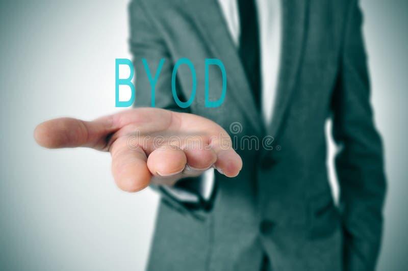 BYOD,首字母缩略词为带来您自己的设备 免版税库存图片