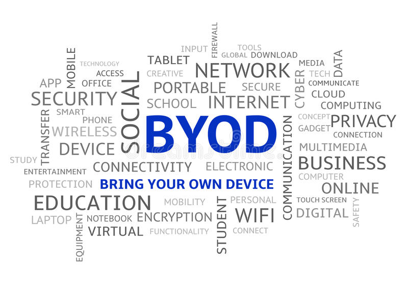 BYOD apportent votre propre haut de casse de nuage de Word de dispositif illustration stock