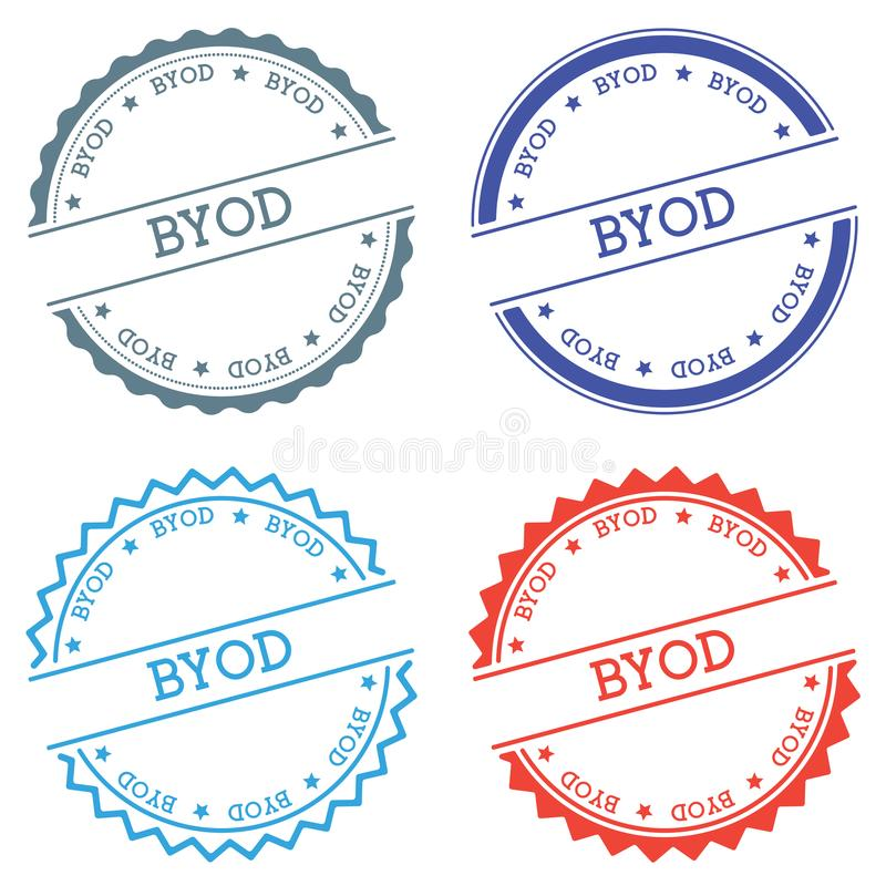 Byod badge on white background. Flat style round label with text. Circular emblem vector illustration royalty free illustration
