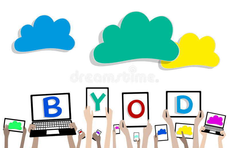 BYOD Bring Your Own Device Children Hands and Clou. BYOD Hands with Computer Tablet using Cloud Computing Grouped and layered EPS10 vector illustration