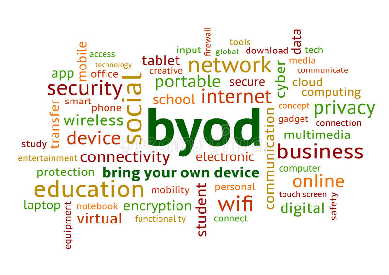 BYOD Bring Your Own Device Colourful Word Cloud. BYOD Bring Your Own Device, Colourful Word Cloud in Lowercase vector illustration