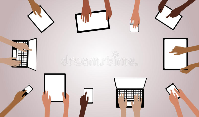 BYOD Bring your own Device Hands with Computers Ta. BYOD Concept Bring Your own Device children hands working on computers tablet and smartphone devices overview royalty free illustration