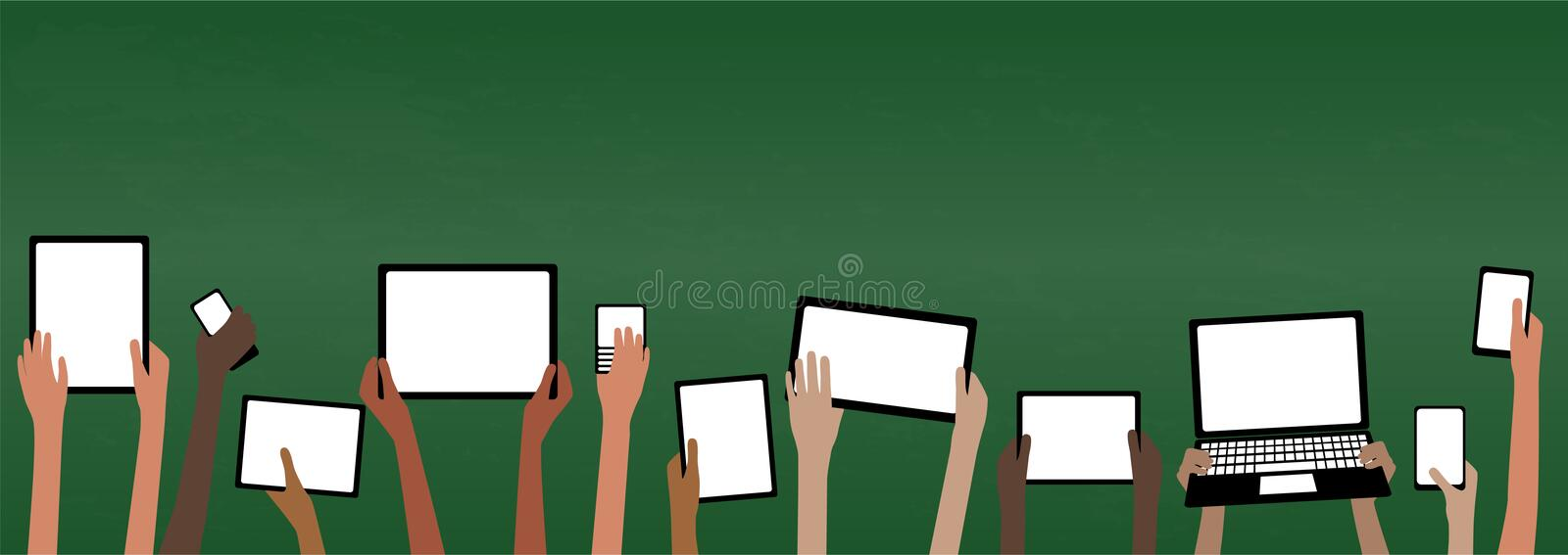 BYOD Bring Your own Device School Banner with Computers Blackboard. BYOD Banner Concept Bring Your own Device children hands holding computer tablet and stock illustration