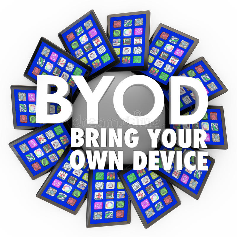 BYOD Bring Your Own Device Tablets Computers Mobile Work. BYOD acronym and the words Bring Your Own Device on a circlular pattern of tablet computers to stock illustration