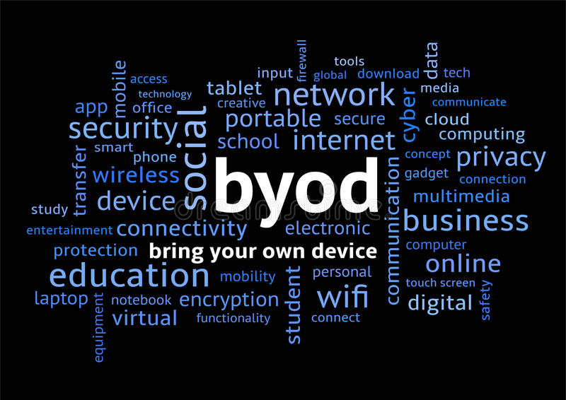 BYOD Bring Your Own Device Word Cloud on Black. BYOD Bring Your Own Device, Word Cloud on Black Background in Lowercase stock illustration