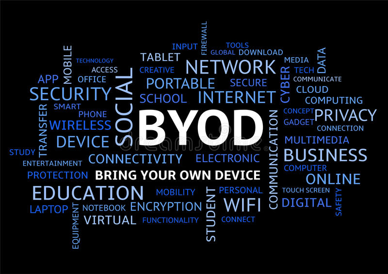 BYOD Bring Your Own Device Word Cloud on Black Uppercase. BYOD Bring Your Own Device, Word Cloud on Black Background in Uppercase stock illustration