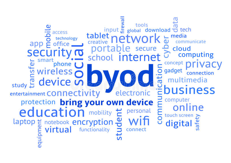 BYOD Bring Your Own Device Word Cloud Blue. BYOD Bring Your Own Device, Blue Word Cloud in Lowercase royalty free illustration