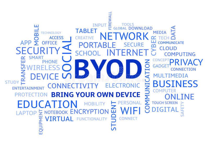 BYOD Bring Your Own Device Word Cloud Blue Uppercase. BYOD Bring Your Own Device, Blue Word Cloud in Uppercase vector illustration