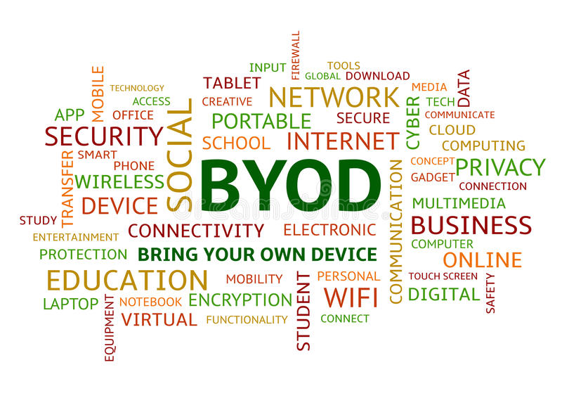 BYOD Bring Your Own Device Word Cloud Colourful Uppercase. BYOD Bring Your Own Device, Colourful Word Cloud in Uppercase stock illustration